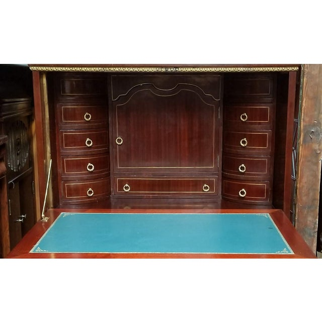 Empire / Biedermeier Style Lyre Form Secretary Desk in Mahogany With Gilt Dolphins For Sale - Image 11 of 13