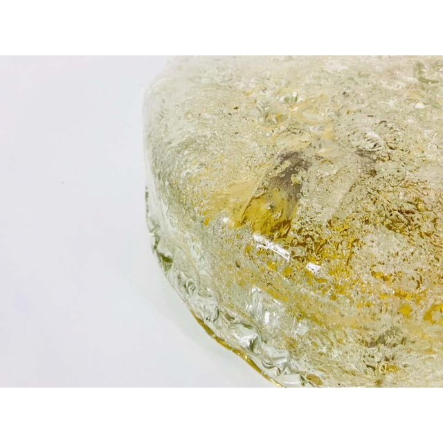 Mid-Century Modern Midcentury Round Ice Glass Flush Mount by Hillebrand, 1960s For Sale - Image 3 of 9