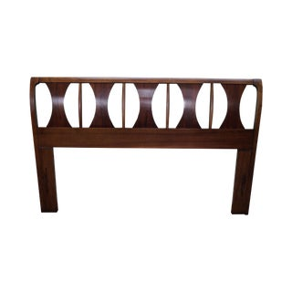 Mid Century Modern Rosewood & Walnut Sculpted Back Full or Queen Size Headboard