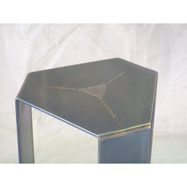Flower Bronze and Steel Pedestal Stand - Image 4 of 6