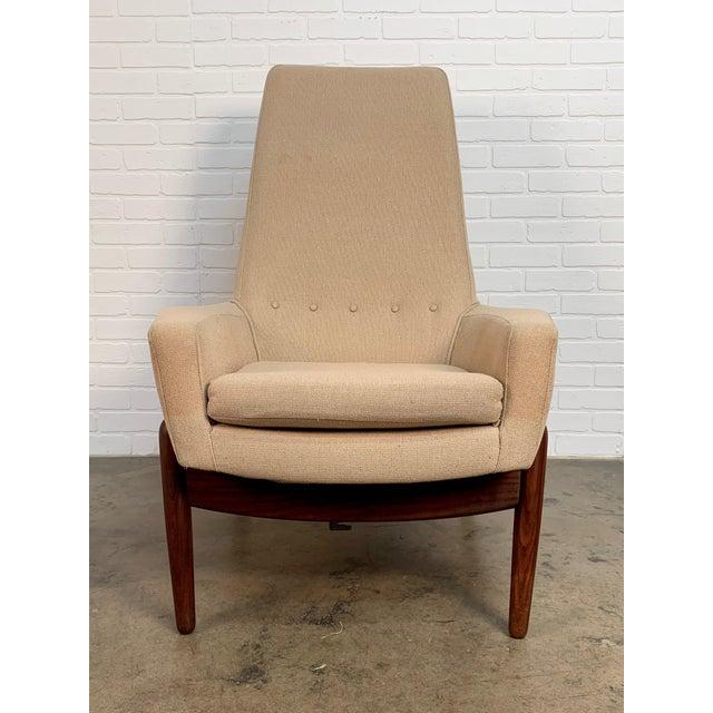 Wood i.b. Kofod-Larsen High Back Lounge Chair Model Pd30 With Ottoman, Circa 1960 For Sale - Image 7 of 13