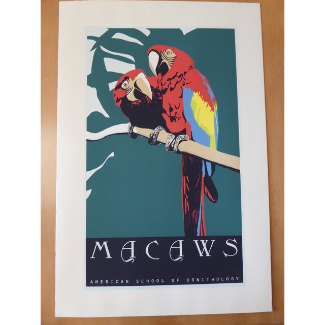 Large Vintage Macaw Parrot Silkscreen - Image 2 of 6