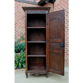 Antique French Country Oak 19th Century Liergues Bonnetiere Cabinet Armoire Wardrobe Bookcase Preview