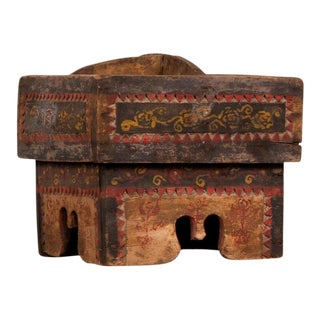 Petite Thai Rustic Betel Nut Box with Weathered Patina and Painted Décor For Sale