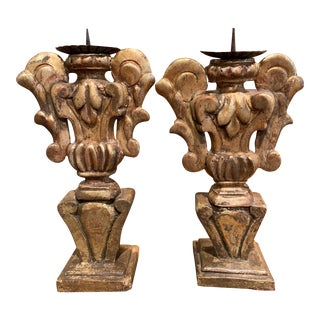 Pair of Mid-19th Century Italian Carved Giltwood Candleholders Prickets For Sale