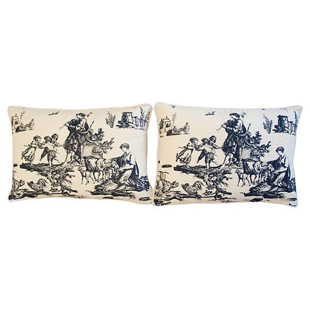 French Countryside Toile Pillows - A Pair - Image 7 of 7