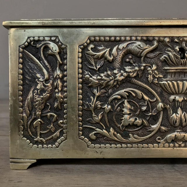 Bronze Jewelry Box, 19th Century French Renaissance, Cast in Bronze For Sale - Image 8 of 13