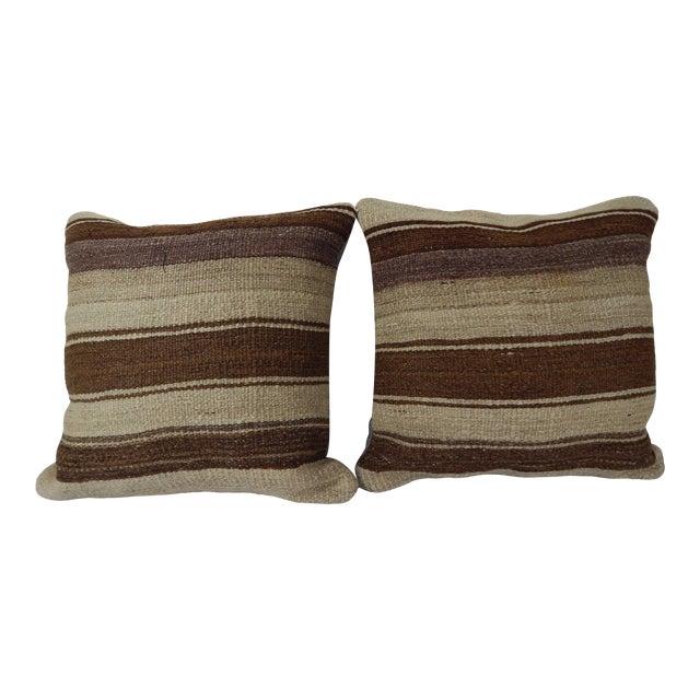 "Set of Two Turkish Hemp Kilim Pillow 18"" X 18"" For Sale"