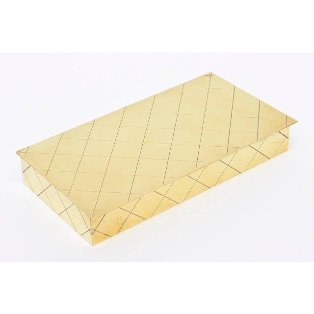 Tommi Parzinger Polished Diamond Criss Cross Brass and Wood Box - Image 3 of 9
