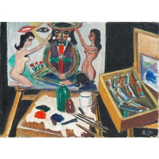 'The Artist's Studio' by Grethe Norgard; 1975, Expressionist Figural Oil For Sale