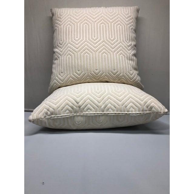 "Modern 22"" Geometric Cut Velvet Throw Pillows - a Pair For Sale - Image 3 of 5"