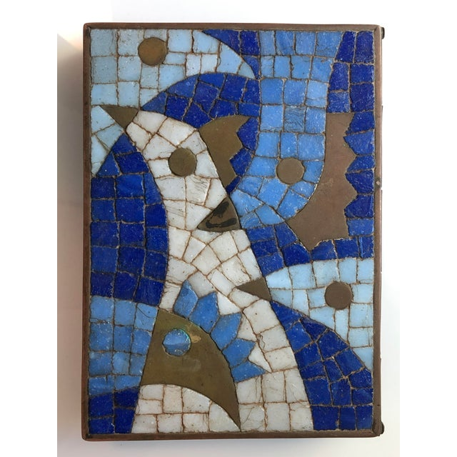 1960s 1960s Vintage Salvador Teran Mexican Modernist Brass and Glass Mosaic Box For Sale - Image 5 of 11