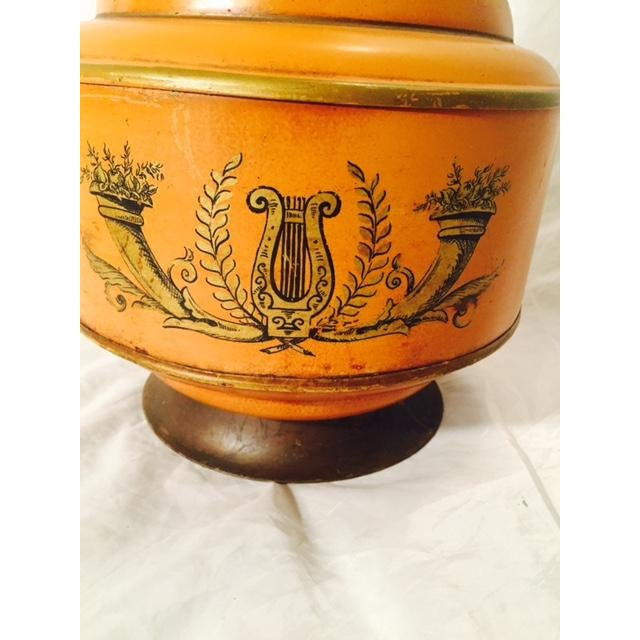 Mid-Century Metal Grecian Style Painted Lamp - Image 4 of 6