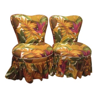 Re-Upholstered Mid-Century Slipper Chairs - A Pair For Sale