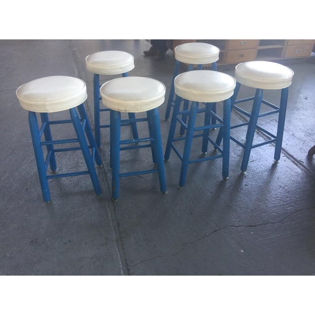 1980s 6 Barstools Blue and White For Sale - Image 5 of 6