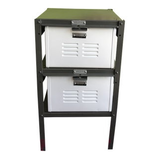 Vintage Steel Basket Locker Nightstand Side Table For Sale