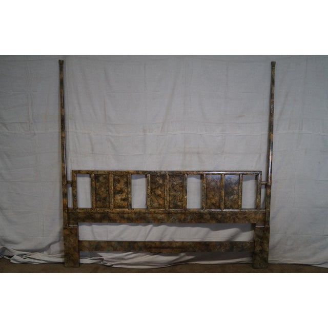 Henredon Mid Century Faux Tortoise Shell Painted King Size Poster Headboard - Image 5 of 10