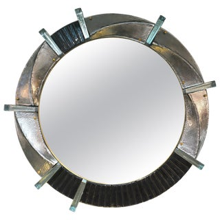 Contemporary Italian Modern Black Silver & Aqua Murano Glass Brass Round Mirror For Sale