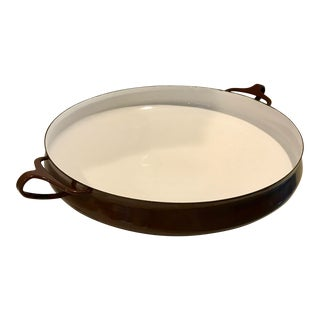 1960s Dansk Design Brown Enamel Large Paella Pan For Sale