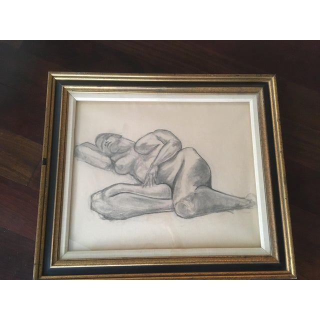 """1960s Vintage Large Mid-Century Art Deco Abstract """"Laying Woman Figure Nude"""" Pencil Drawing For Sale - Image 5 of 9"""