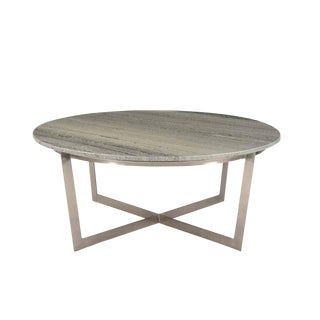 Round Grey Marble Coffee Table For Sale