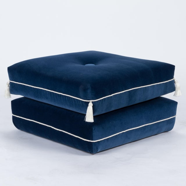 Textile Casa Cosima Turkish Ottoman in Cadet Blue Velvet For Sale - Image 7 of 7