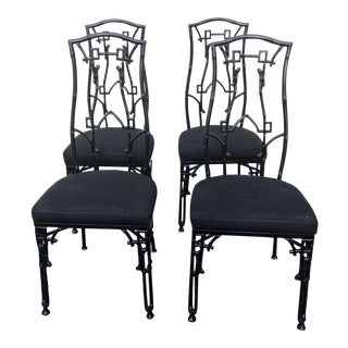 Chic Chinoiserie Style Patio Side Chairs- Set of 4 For Sale