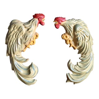 Vintage Chalkware Roosters - a Pair