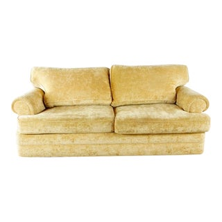 Vintage Henredon Velvet / Chenille Upholstered Two Cushion Sofa For Sale