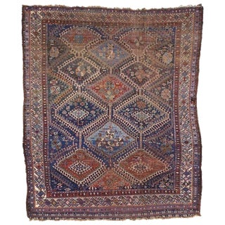 Antique Persian Shiraz Rug With Modern Tribal Style, Study or Home Office Worn Rug