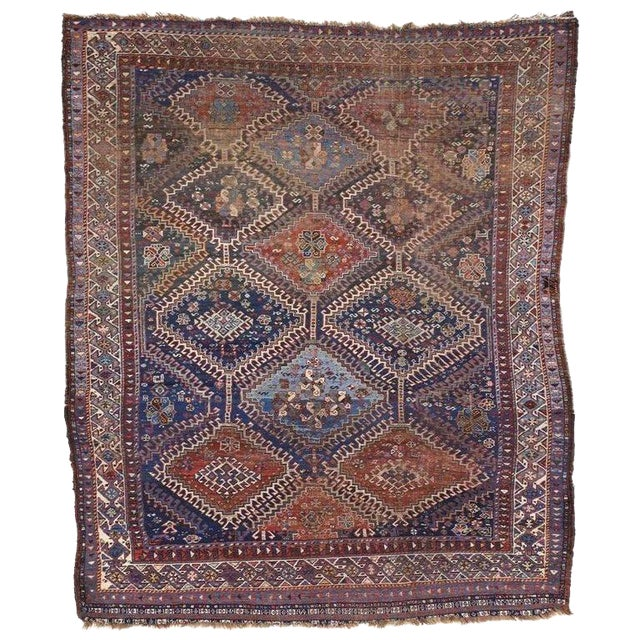 Antique Persian Shiraz Rug With Modern Tribal Style, Study or Home Office Worn Rug For Sale