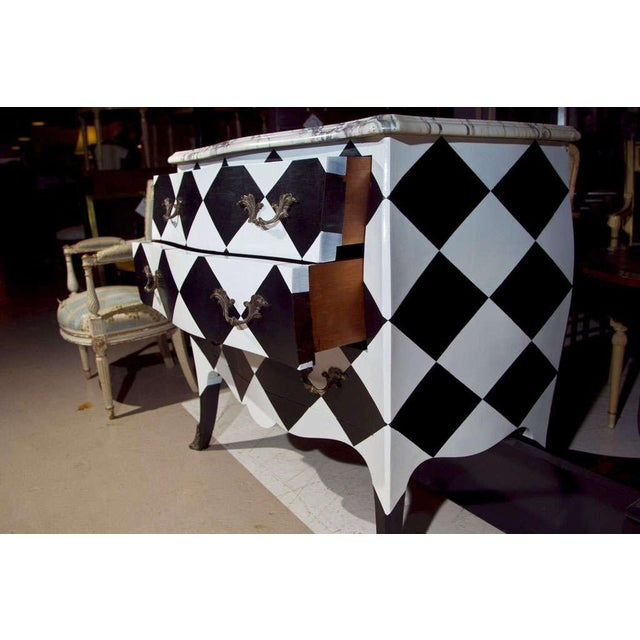 Black French Louis XV Painted Marble Top Commode For Sale - Image 8 of 10