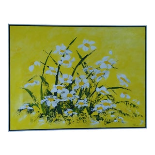 Abstract Still Life Daisy Yellow Original Painting For Sale