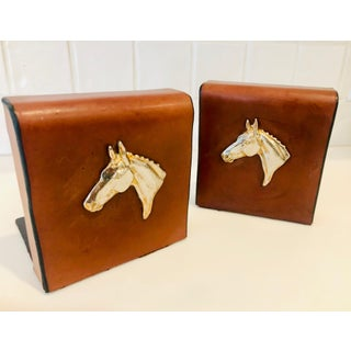 English Traditional Equestrian Theme Leather Book Ends - a Pair Preview