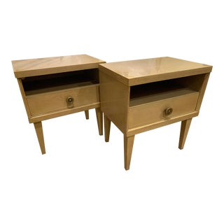 1950s Mid-Century Blonde Nightstands by Albert of Indiana - a Pair For Sale