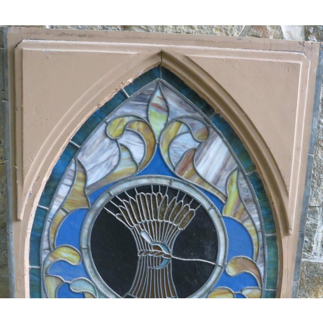 Late 19th Century Vintage Wheat and Sickle Gothic Leaded Stained Glass Window For Sale In Washington DC - Image 6 of 8