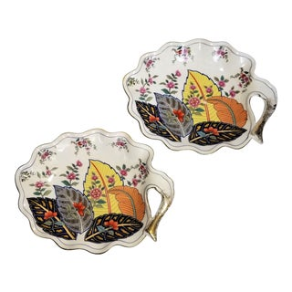 Vintage Tobacco Leaf Porcelain Trays or Candy Dish- a Pair For Sale