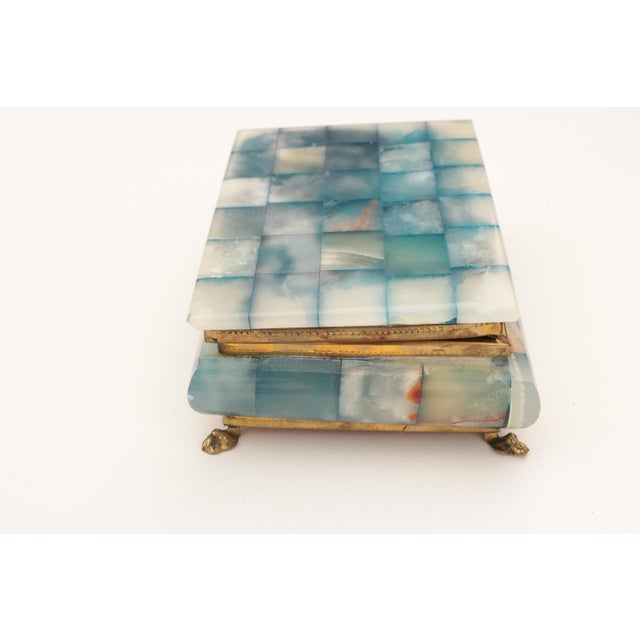 Blue Onyx & Brass Hinged Box For Sale In Madison - Image 6 of 8