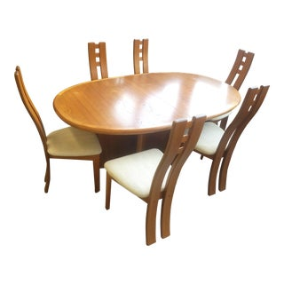 1970s Vintage Danish Modern Dining Room Set- 7 Pieces For Sale