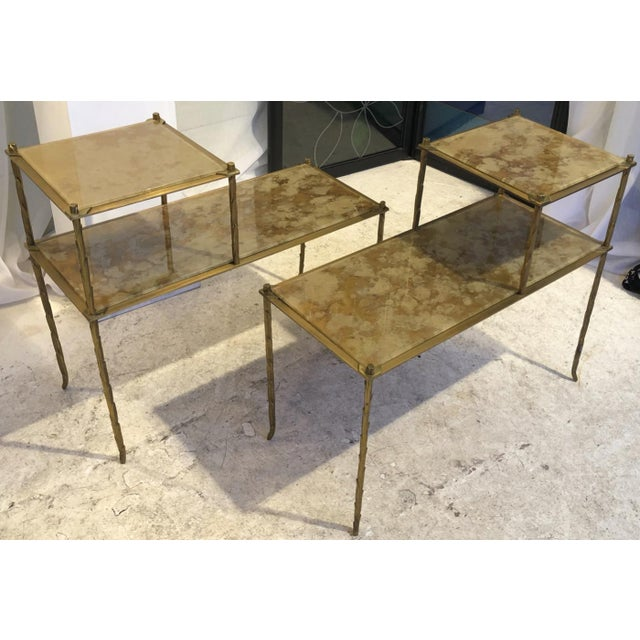 Mid-Century Modern Maison Bagues Superb Gold Bronze Two Tier Side Tables With Eglomise Mirror Top For Sale - Image 3 of 6