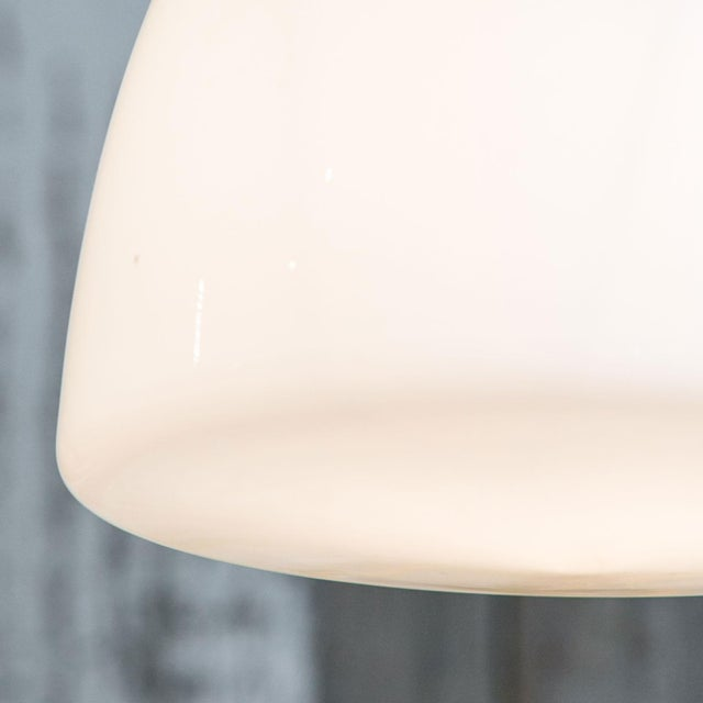 French Antique Milk Glass and Iron Pendant For Sale - Image 3 of 7
