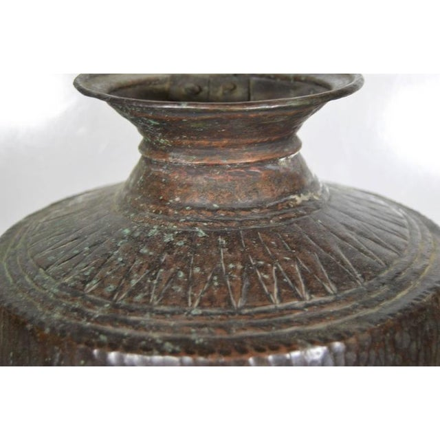 Vintage Indian Hand-Hammered Copper Jug with Carvings, Early 20th Century For Sale In New York - Image 6 of 8