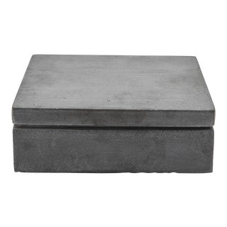 Bowery Rectangular Covered Box in Graphite For Sale