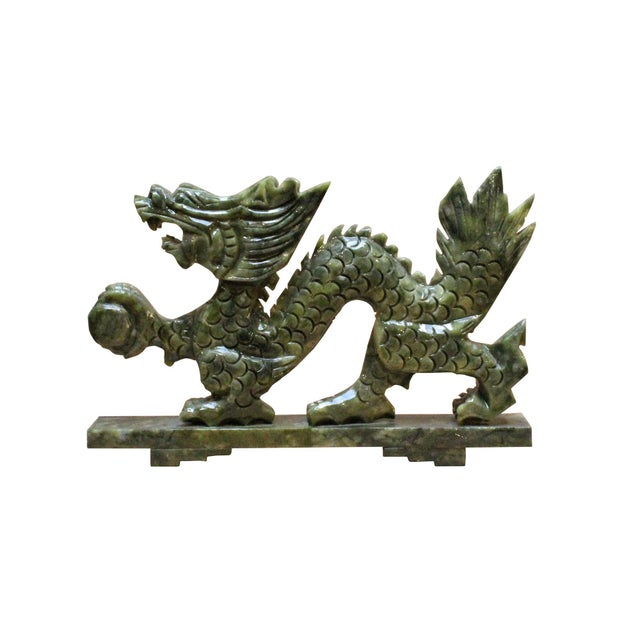 Stone Chinese Green Stone Carved Dragon Fengshui Figure For Sale - Image 7 of 7