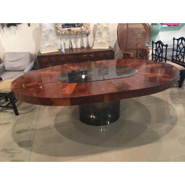 Brown Paul Evans Burlwood Dining Table Brushed Metal For Sale - Image 8 of 12