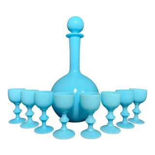 Antique French Blue Opaline Glass Cordial Goblets and Decanter by Portieux Vallerysthall - Set of 9 For Sale
