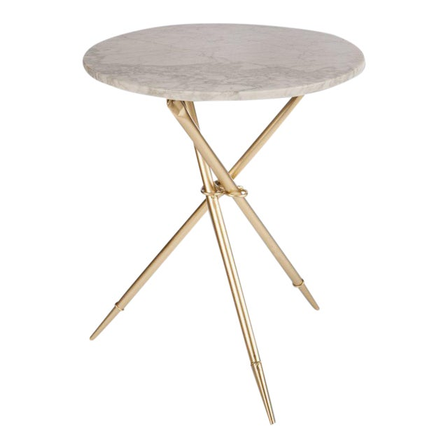 Foldable Ethelle Marble Side Table For Sale