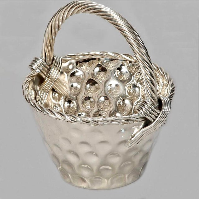 Mid Century Hammered Silver Plate Tall Handled Basket - Image 5 of 8