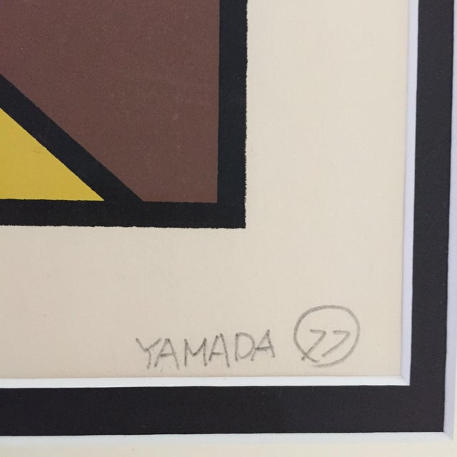 """1977 Graphic Silkscreen Signed Yamada """"Girl With Headdress"""" For Sale In San Francisco - Image 6 of 8"""