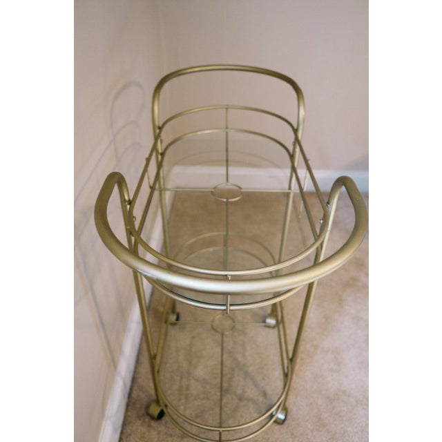 Vintage Mid-Century Gold Metal & Glass Bar Cart - Image 5 of 6